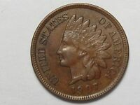1907 US Indian Head Penny (AU w/ Full Liberty & Near 4 Diamonds).  #61