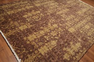 9' x 12' Hand Knotted Erased Pattern Botanical Wool Pile Area Rug AOR8779 Brown