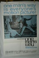 1 Vintage One Sheet Movie Poster for One Man's Way, 1964, Don Murray