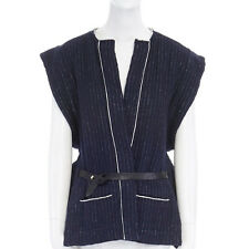 ISABEL MARANT blue striped wool cotton boxy belted kimono gilet vest jacket M