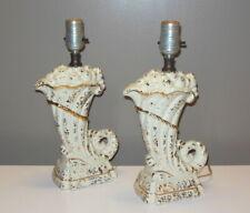 Mid Century Modern Pair White Gold Ceramic CORNUCOPIA LAMPS Hollywood Glam