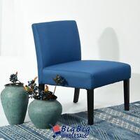 Modern Design Single Sofa Accent Chair Blue Soft Fabric Living Room Leisure Seat