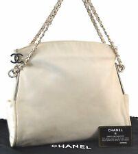 Authentic Chanel Lammleder CC Logo Chain Handtasche weiß CC c3516