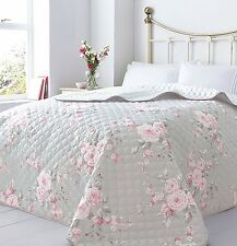 Lovely Canterbury Roses Bedspread Throw Quilted Comforter King Size 240 x 260 cm