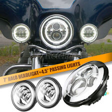 """7"""" Chrome Round  LED Headlight Halo Ring & Passing Lights For Harley Touring"""