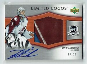 05-06 UD Upper Deck The Cup Limited Logos  David Aebischer  /50  Auto  Patch