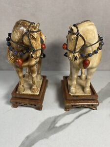 Chinese Vintage Tang Dynasty Carved Horses Book Ends Figurines Antique