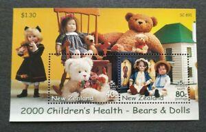 2000 New Zealand Children's Health, Teddy Bears Dolls Miniature Sheet MS Mint NH