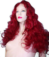 REAL Human Hair Full Lace Wig Remi Remy Indian Body Wave Wavy Red Burgundy Long
