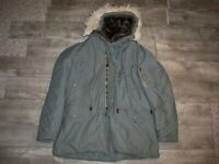 Vintage 60s N3B Hooded Parka Jacket Snorkel Military Fur Hood USAF Men's Large