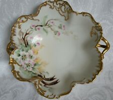ANTIQUE T&V LIMOGES FRANCE CANDY BOWL W /HANDLES HAND PAINTED GOLD SIGNED J.M.
