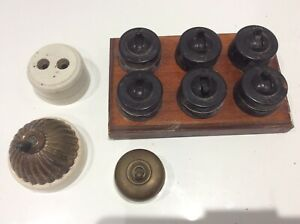 Vintage Antique Brass Bakelite Electric wall Switch