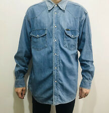 Wrangler Vintage Authentic Western Denim Shirt LARGE Pearl Snap