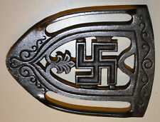 Antique 1920s Whirling Log Good Luck Swastika Iron Footed Trivet