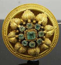 Antique 9Carat Gold Circular Emerald Set Boss Brooch Approx 35mm Diameter
