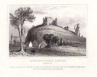 1840 Victoriano Estampado ~ Knaresborough Castillo ~ Yorkshire