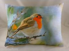 "17""x13"" Robin Velvet Chenille Cushion Evans Lichfield Bird wildlife DP302"