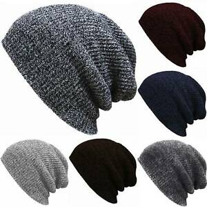 Plain Slouchy Beanie Hat Men Women Baggy Oversize Warm Knit Ski Winter Skull Cap