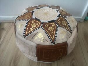 Moroccan pouffe Leather Footstool Brown Cream seating ottoman poufe pouf New