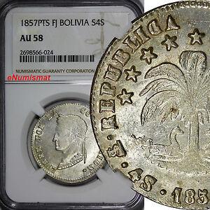 Bolivia Silver 1857 PTS FJ 4 Soles NGC AU58 Mint Luster Toned  KM# 123.2