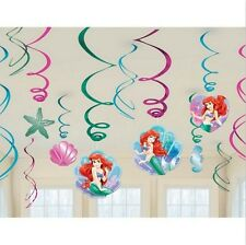 Disney Little Mermaid 12-ct Swirl Decorations Birthday Party Favors Supplies~