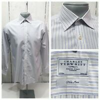 CHARLES TYRWHITT MEN DRESS L/S NON IRON SHIRT 15 - 33 LIGHT BLUE GRAY WHITE