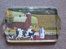 LARGE USED ASHDENE ACRYLIC TRAY FEATURING FARMYARD, COW AND SUNFLOWERS