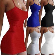 Womens Plain Strappy Cami Bodycon Ladies Sexy Sling Mini Dress Party Nightclub