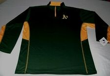 Oakland A's Athletics 1/4 Zip Long Sleeve Jersey Shirt Embroidered Majestic MLB