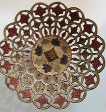Vintage Brass Indian Bowl Dish With Enamel Painted Details And Cut Outs