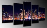 Cuadro Moderno Fotografico base madera, Ciudad Luces de Noche 145 x 62 cm