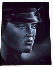 Vintage Enrique Felix Signed Painting Elvis Presley On Black Velvet Army Era