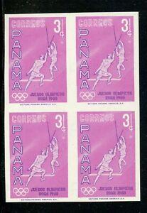Panama Varieties Scott #433 IMPERF MNH BLOCK 3c Olympic Fencing Rose PROOF $$