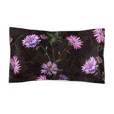 Pink and Purple Flowers on Black Background Microfiber Pillow Sham