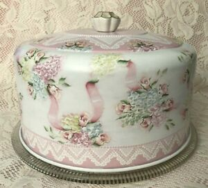 Hand Painted Vintage Cake Saver Cottage Chic Pink Rose Hydrangea Shabby Lace HP
