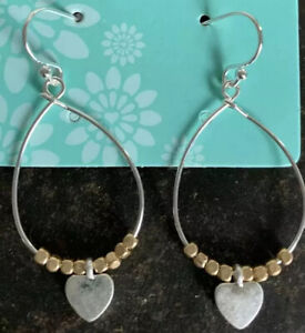 Silver Plated Teardrop Earrings With Golden Beads And Heart POM Boutique