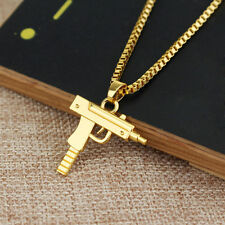 14.000 Real Gold Filled PISTOLA UZI PISTOLA Ciondoli e Collane UZI COLLANA CATENA