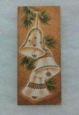 Vintage Christmas Card - Trio of Gold Jingle Bells Hanging on a Christmas Tree
