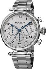 Akribos AK764SS Grandiose Chronograph Date Blue Accent Silvertone Mens Watch