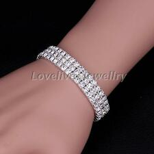 3 Rows Sparkly Full Crystal Rhinestone Bracelet Bangle For Women Bridal Wedding
