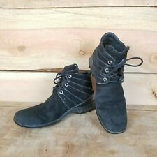Cole Haan Womens Wedge Waterproof Black Suede Lace Up Ankle Boots Sz 7