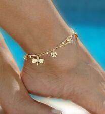 Fußkette  goldfarbig Libelle Zirkonia Kugel mit Verlängerung 22 - 29 cm