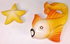 Mid Century 2 Miller Studio Chalkware Fish & Star Wall Plaques Vtg 1977 Figurine