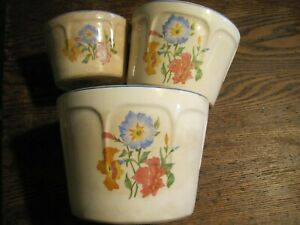 VTG Universal Potteries OvenProof Cambridge OH NESTING 3 Canisters/BOWLS&LID-USA