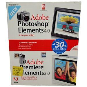 Adobe Photoshop Elements 4.0 & Premiere Elements 2.0 XP 2-Disc Set Original Box
