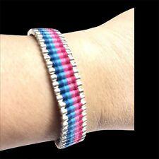 "Sterling Silver Links of London Blue & Pink Woven Bracelet 6""-7.5"""