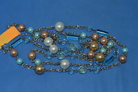 WOMEN'S VARIOUS BEADED BEAUTIFUL LONG NECKLACE WITH SILVER TONE CHAIN