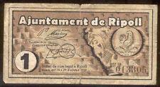 Ayuntamiento de RIPOLL 1 Peseta  @ Ripolles - Vic @