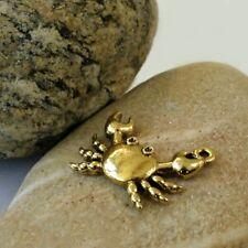 2 Breloques Pendants Charms Crabes    Vieil Or   24/28 mm
