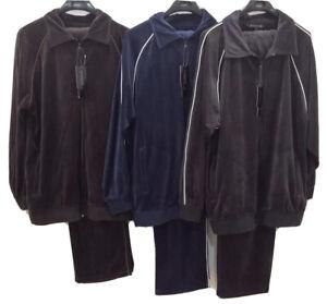 Men's Fashion Velour Track Set Jogging Suit with Jacket & Pants by Classico New